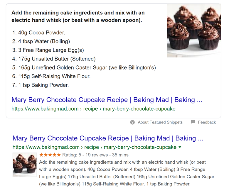 Mary Berry cupcakes featured snippet