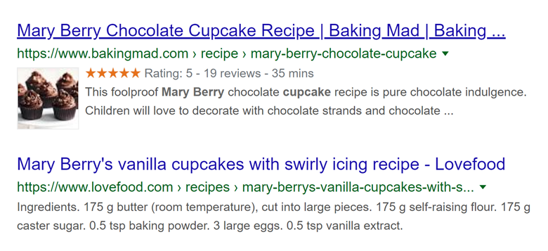 Mary Berry cupcakes rich snippet