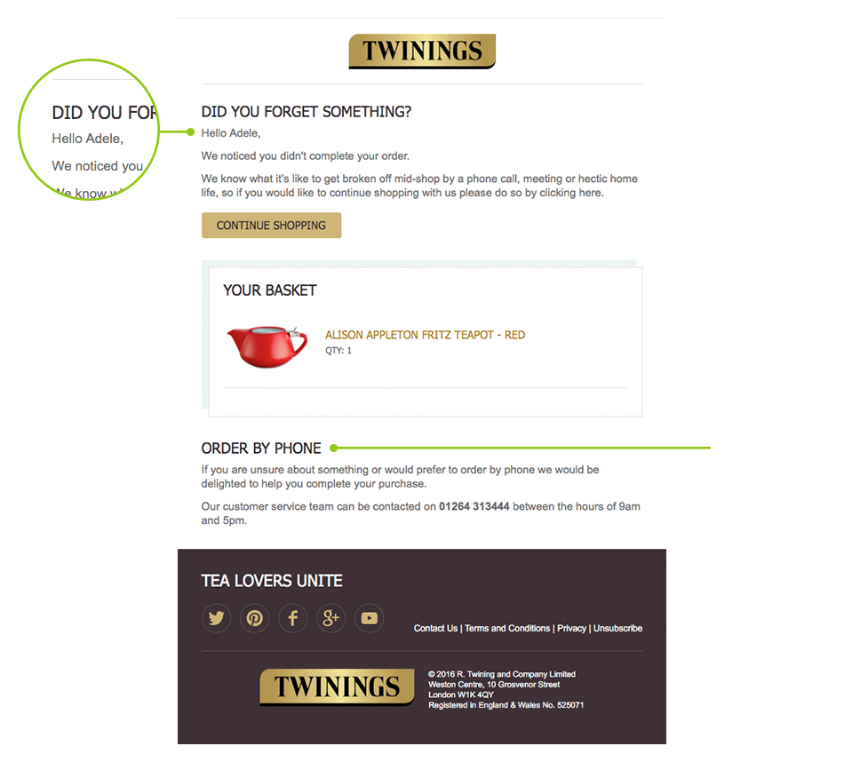 Twinings cart abandonment email