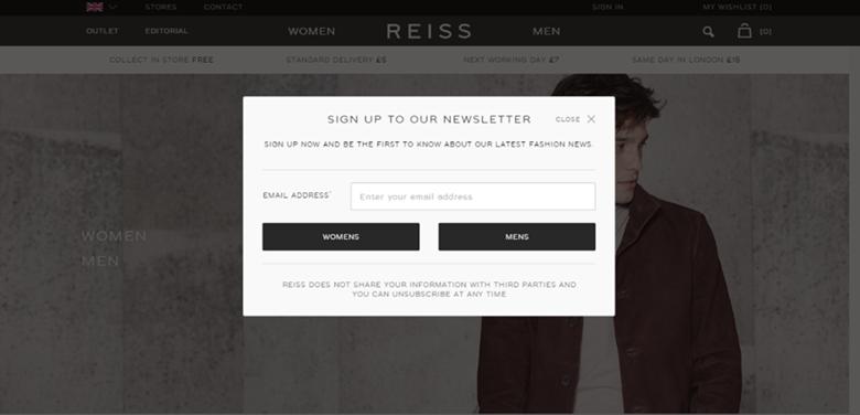 Reiss email sign up