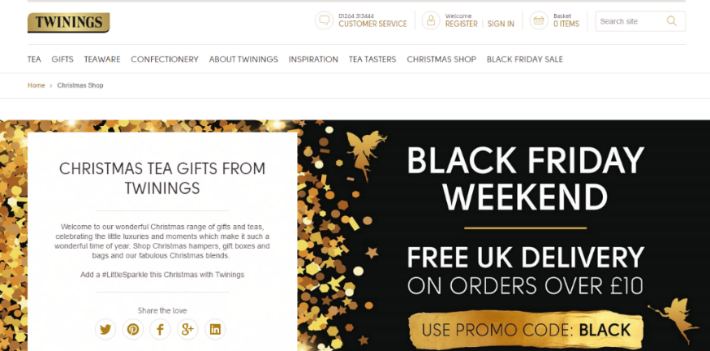 Twinings Black Friday promotional advert