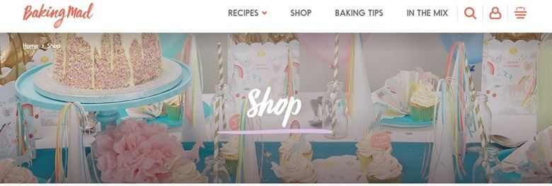 Baking Mad website shop section