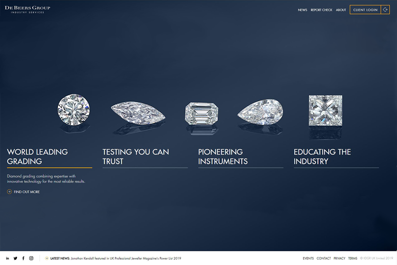De Beers Industry Services homepage