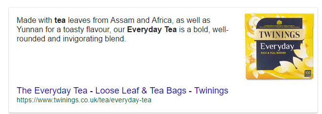 Twinings search result