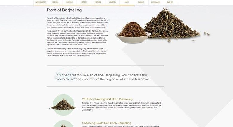 Example of longform content from the Twinings website