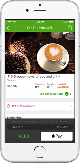 Example of Groupon's Apple Pay
