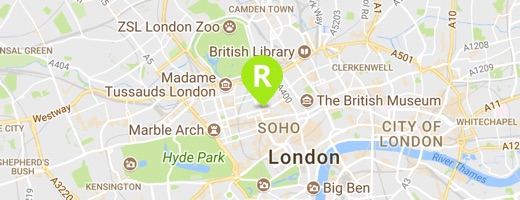 Map showing Ridgeway's London office
