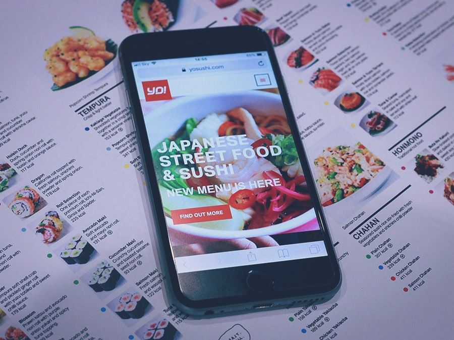 YO! Sushi website on mobile