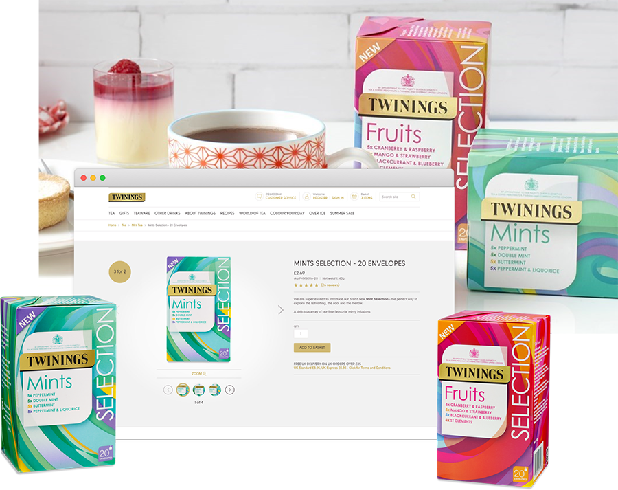 Twinings tea website in browser