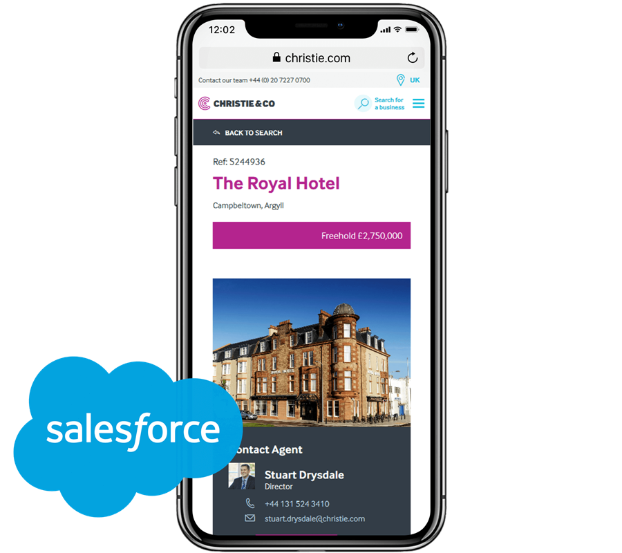 Mobile view property listing with Salesforce logo