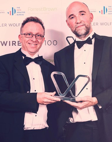 Simon and Graeme collecting the Wirehive 100 2019 Award