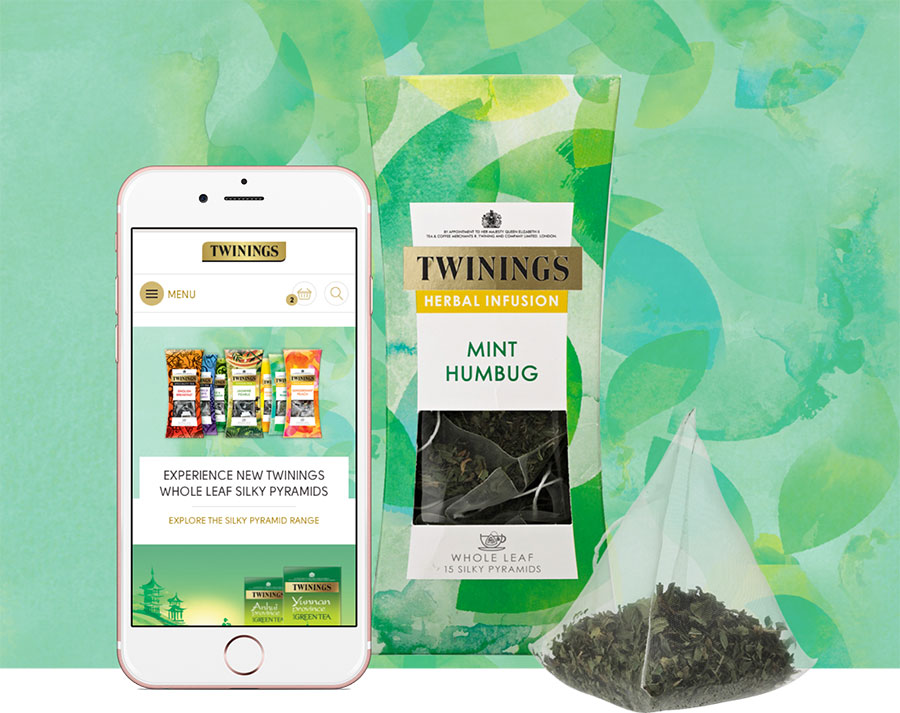 The Twinings website on a mobile device