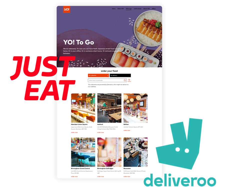 YO! on tablet with Deliveroo